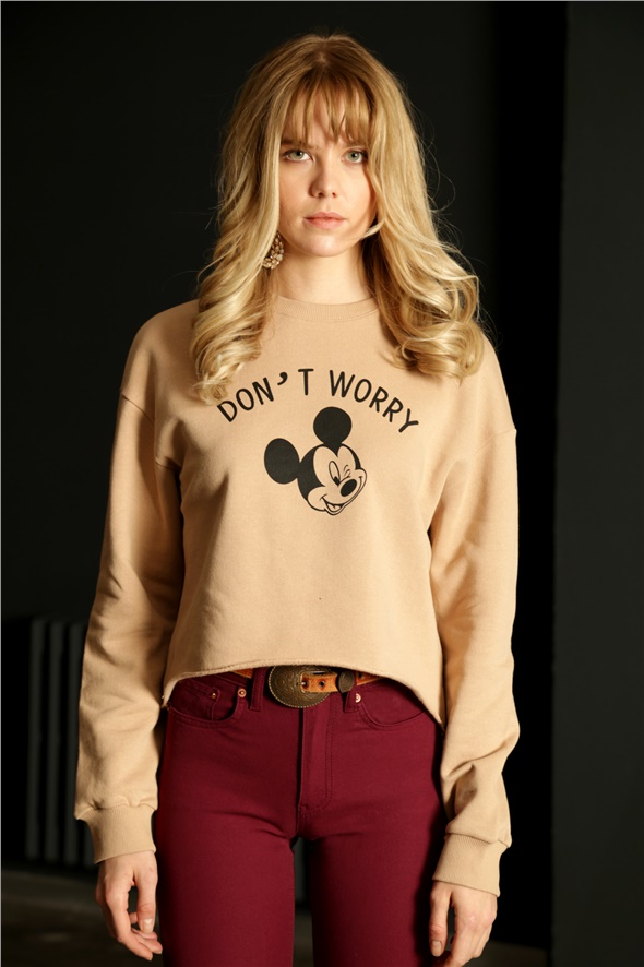 Camel Dont Worry Baskılı Sweatshirt